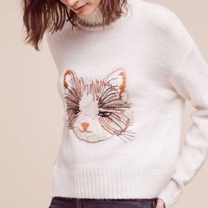 Anthropologie Embroidered Sweater